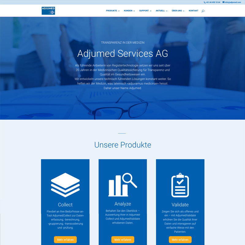 Homepage Adjumed Services AG 2018