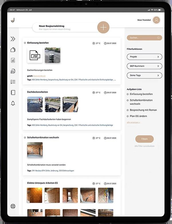 Dashboard der JUURLY App